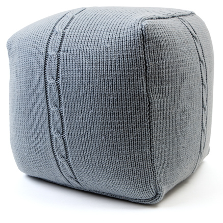 Chunky Cable Pouf - Ice Blue