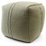 Chunky Cable Pouf - Water Green