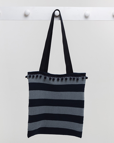 Deck Chair Stripe Beach Bag - Navy / Grey