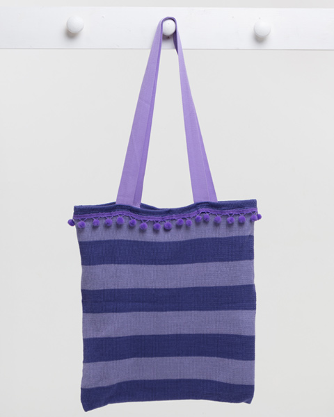 Deck Chair Stripe Beach Bag - Purple