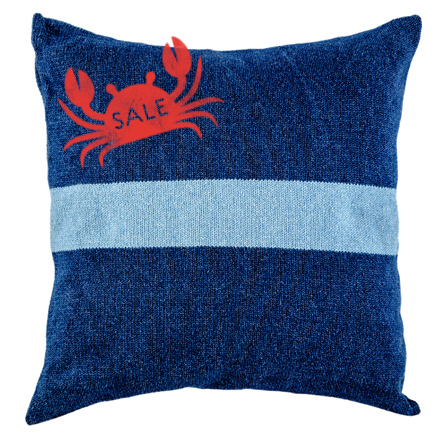 Denim Cushion Cover - Dark Wash with Broad Stripe