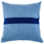 Denim Cushion Cover - Light Wash / Broad Stripe