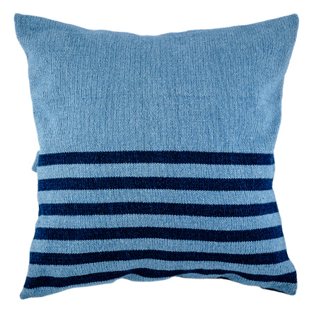 Denim Cushion Cover - Light Wash with Narrow Stripes