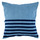 Denim Cushion Cover - Light Wash / Narrow Stripes