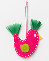 Xmas Decorations - Pink Felt Bird
