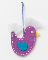 Xmas Decorations - Purple Felt Bird