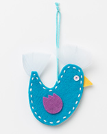 Xmas Decorations - Turquoise Felt Bird